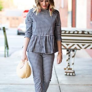 NWOT Victoria Beckham for Target Navy Gingham Top